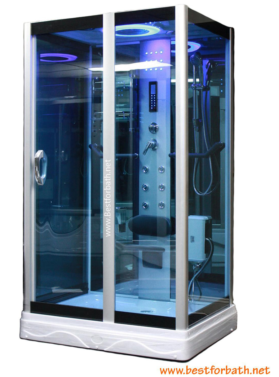 Square Steam Shower Enclosure w/Hydro Massage Jets.Aromatherapy.Bluetooth. 9009 - Image 1