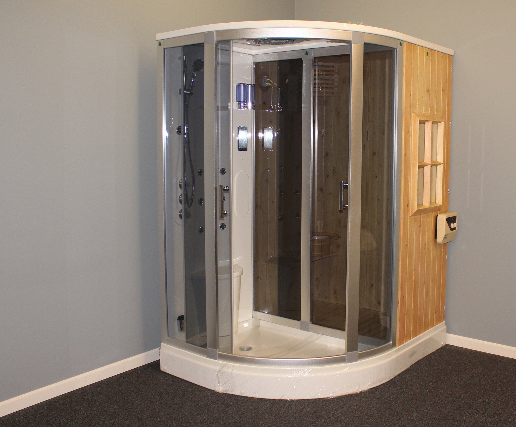 Steam Shower Cost >> Deluxe Shower / Dry Sauna Combo System + Steam Cabin. B001 - Constar USA