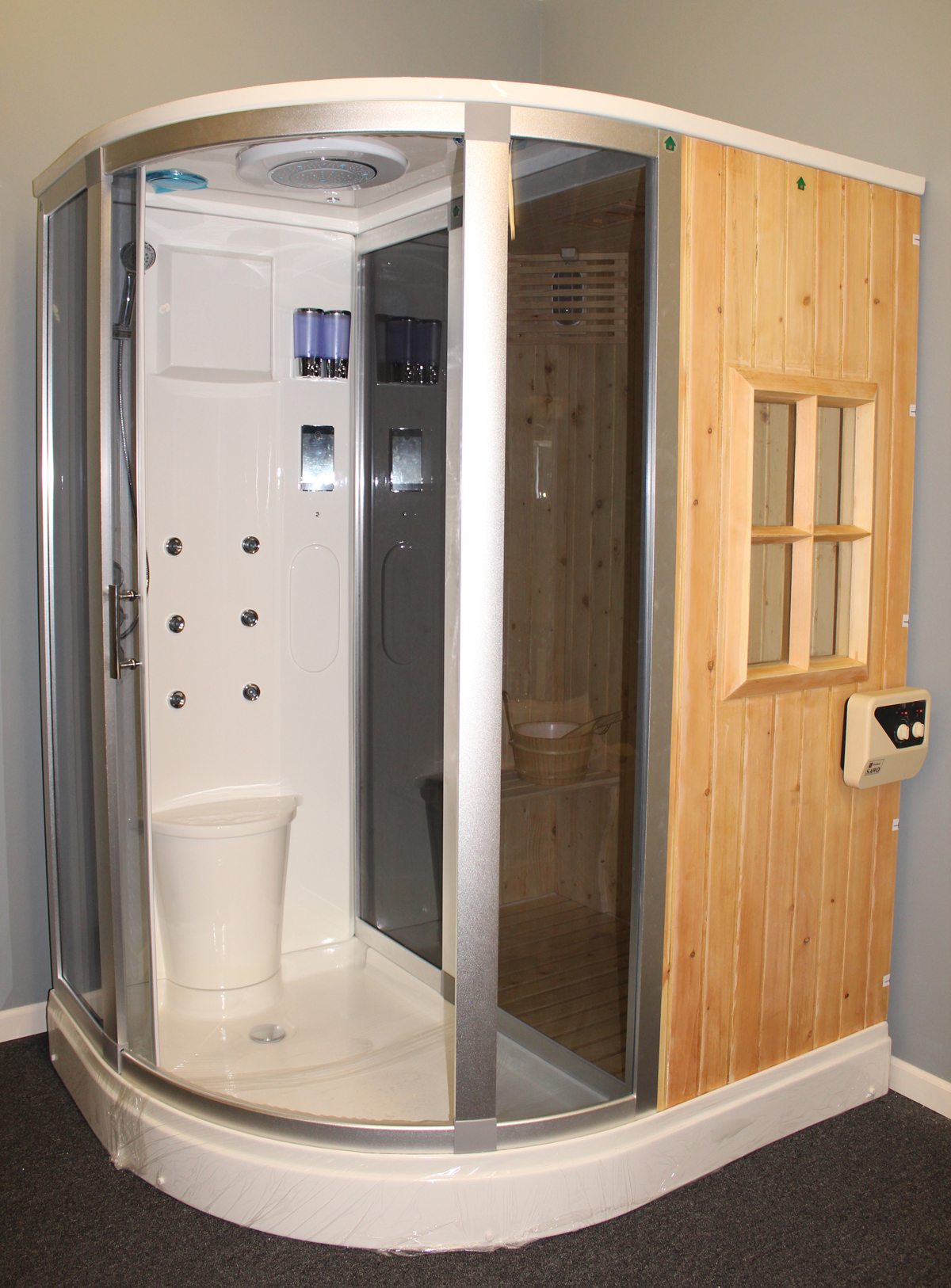 B001   Image 2 Deluxe Shower / Dry Sauna Combo System + Steam Cabin.