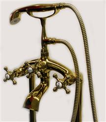 Classic Clawfoot Tub w/ Regal brass Lion Feet, Gold telephone style tub faucet   - Image 13